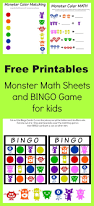 free printable halloween bingo game cards monster math and bingo printables manic mama of 3