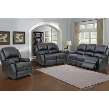 Lorraine Black Recliner  Piece Living Room Set SLC - Three piece living room set
