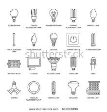 Halogen Shop Light Light Bulbs Flat Line Icons Led Stock Vector 632016899 Shutterstock