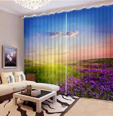 Lavender Blackout Curtains Lavender Sun Sunset Custom 3d Curtain Bedroom Living Room Hote