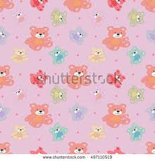 stylish beautiful baby seamless pattern teddy stock vector