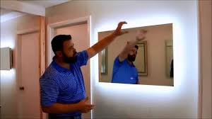 bathroom mirror with led lights led exquisite illuminated mirror diy installation video youtube