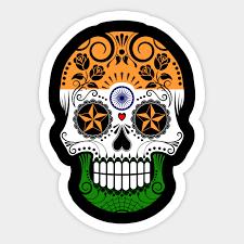 indian flag sugar skull with roses india sticker teepublic