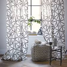 linen cotton abstract triangle curtain slate west elm