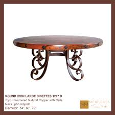 120 round iron large dinette hammered natural copper top mod 1247