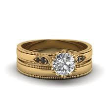 simple wedding ring sets cut milgrain simple wedding set with black in 14k