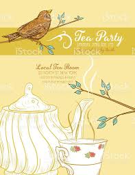 cute teapot and cup bridal shower invitation stock vector art