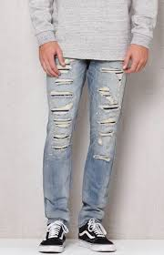 Light Wash Ripped Skinny Jeans Pacsun Stacked Skinny Ripped Light Wash Stretch Jeans At Pacsun Com