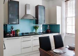 designer kitchen with gloss turquoise splashback beautiful