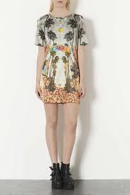 topshop deer print satin shift dress lyst