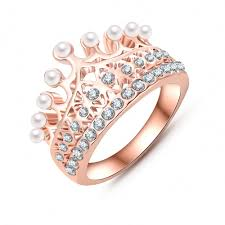 crystal ball rings images Princess crown ring 18k rose gold plate made with austrian crystal jpg