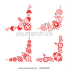set four traditional folk ornaments hungarian stock vector