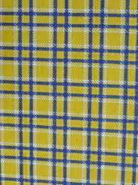 Light Cotton Fabric Yellow Navy Check Stretch Light Cotton Fabric