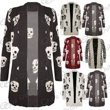 womens black cardigan sweater front open skull womens waterfall sweater knitted