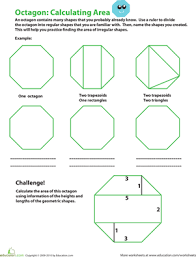 Picture Of Octagon Calculating The Area Of An Octagon Worksheet Education Com
