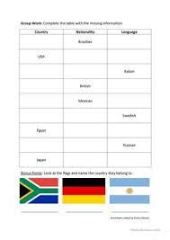 12 free esl countries nationalities languages worksheets