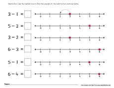 printable number line subtraction worksheets for preschools