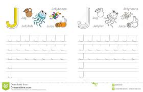 tracing worksheet for letter j stock vector image 62840197