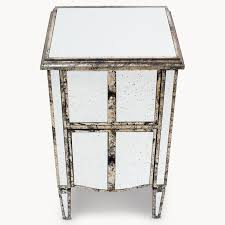 furniture distressed end tables mirrored side table brass and