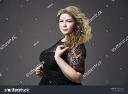 young beautiful blonde plus size model stock photo 533618269