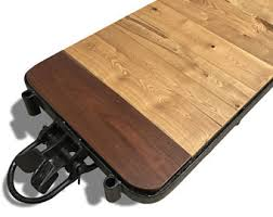 Wooden Coffee Table With Wheels by Cart Coffee Table Etsy