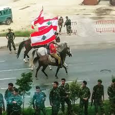 Libanese Flag Lebanese Army Horse Riding Flag Rising Rehearsal Downtown