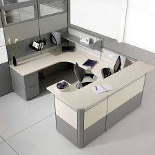 Grey Wooden Desk Office Decorating Ideas With U Shape Design And White Computer