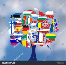 Europe Flag Map by Map Flags Europe Tree Design Vector Stock Vector 327050960
