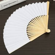 paper fans for wedding 5pcs simple blank diy paper folding fan wedding party folding