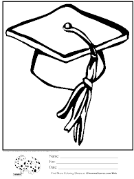 coloring page graduation hat ginormasource kids