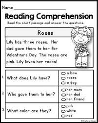 kindergarten reading comprehension passages valentine u0027s freebie