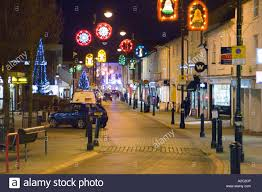 christmas decorations and lights in the town of stowmarket uk