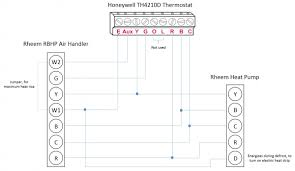 honeywell t stat rheem heat pump l e aux w1 w2 wiring