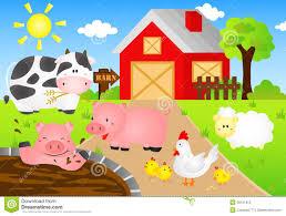 A Cartoon Barn Barn With Animals Cartoon