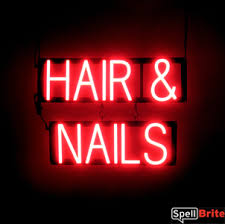 nail salon signs with neon look u0026 led performance spellbrite