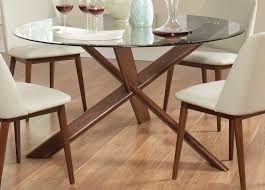 Round Dining Table With Glass Top Coaster Barett Glass Top Round Dining Table Chestnut 105991 At