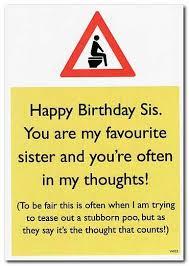 warning card sister poo rude birthday card