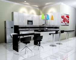 sleek kitchen with glowing walls and acrylic dining chairs also