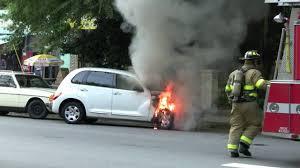 chrysler car white pt cruiser engine on fire tire explodes chrysler car midtown