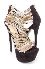 black chain rhinestone strappy platform 6 inch high heels faux suede