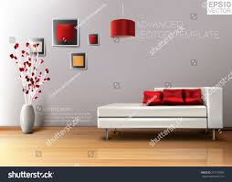 modern living room white leather sofa stock vector 272179289