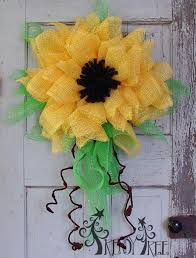 sunflower mesh wreath country chic sunflower wreath picmia