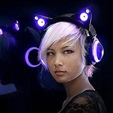 light up cat headphones amazon com brookstone wired purple cat ear headphones with external