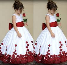 kids wedding dresses white and kids wedding dress sash with big bow neck