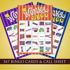 willy wonka bingo cards