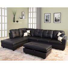 left facing chaise sectional sofa delma 3 piece faux leather left facing chaise sectional set black