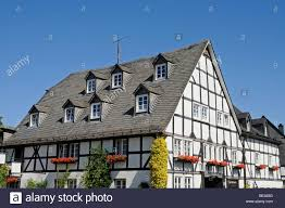 roof gable roof windows half timbered house eversberg village