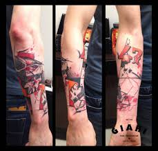 number 47 square skull trash polka tattoo on forearm by live two