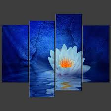 blue water lily canvas wall art pictures prints decor larger sizes