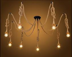 Retro Hanging Light Fixtures Vintage Spider Rope Pendant L Loft Hemp Chandelier Light Retro